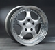 3 part, silver polished Porsche style wheel in 17/18